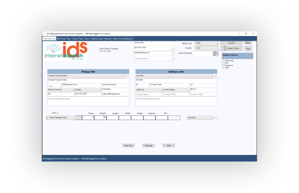 Shipping Portal for Delivery Software